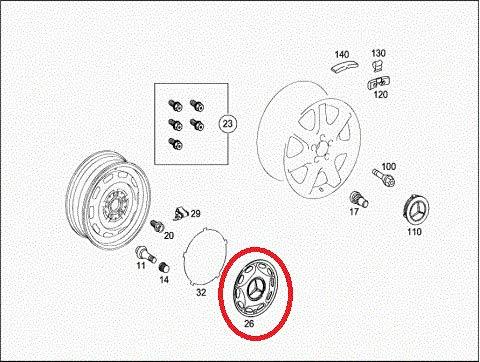 GTV INVESTMENT MB W168 A-Klasse Radkappe/Radkappe A1684000125