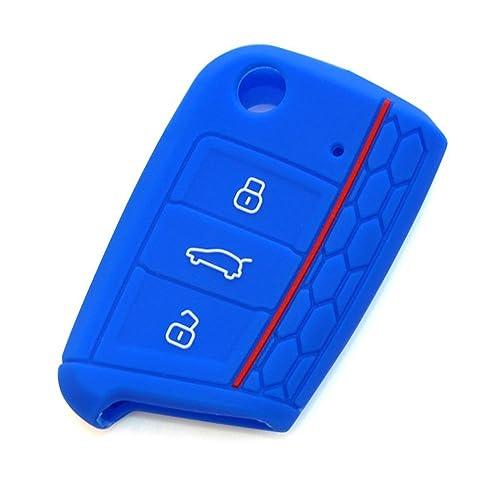 YLC 2 Piezas 3 Botones Silicona Funda para Llave de Coche Car Key Cover para VW