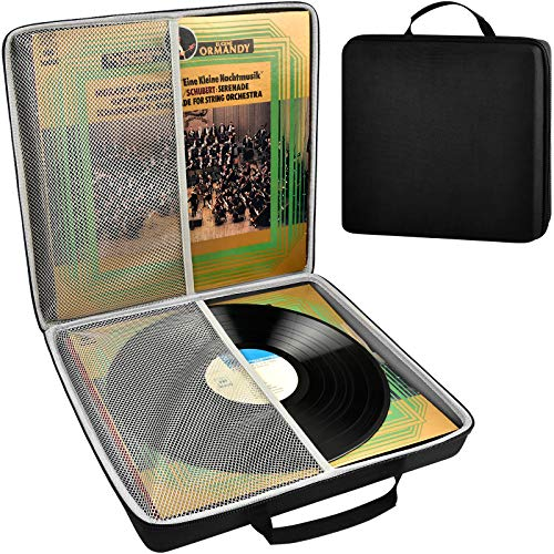 Vinyl Record Storage Case, Portable Vintage Records Carrying Holder Fits for All Standard LP & EP Records - 33 1/3, 45 and 78 RPM. Travling Box Holds 18 Albums. (Box Only)