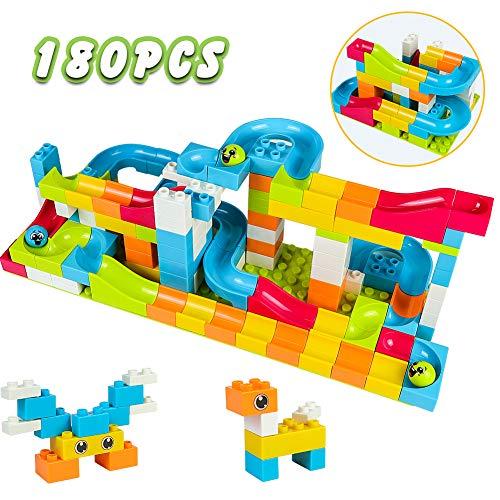 Akokie Pista Biglie Costruzioni per Bambini da 180 Pezzi Giochi Montessori Educativi Puzzle 3D Infanzia Regalo per Bambini 3 4 5 6 Anni