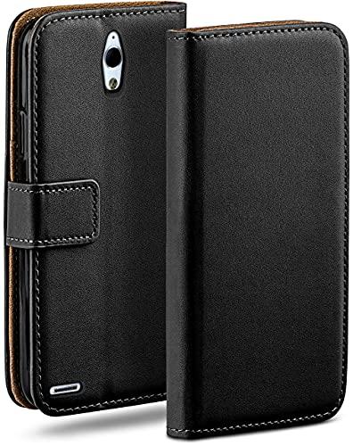 moex Klapphülle kompatibel mit Huawei Ascend G700 Hülle klappbar, Handyhülle mit Kartenfach, 360 Grad Flip Hülle, Vegan Leder Handytasche, Schwarz