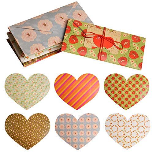 Lorvain Valentine's Day Holiday Cards Assortment for Her Him, Romantic Love Floral Greeting Note Card with Heart Paper Tag(6 Cards of Different Colors)
