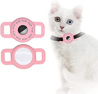 Airtag Siliconen hoes voor hondenhalsband, Airtag hoes met beschermende HD High Clear Folie, verstelbare draagbare GPS-vin...