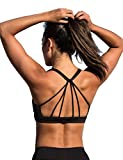 icyzone Padded Strappy Sports Bra Yoga Tops Activewear Workout Clothes for Women (M, Black)