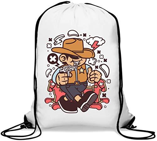 Cowboy Kid Wild West Cartoon Graphic Gym Sack Casual Drawstring Bag