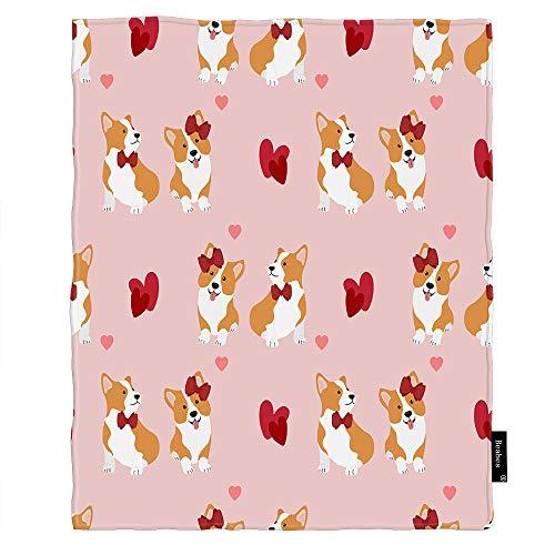 Seemuch Manta de forro polar con diseño de corazón para pareja, diseño de perro francés con lazo, cara sonriente, suave, cálida, para dormitorio, oficina, hogar, sofá, cama, 106 x 127 cm