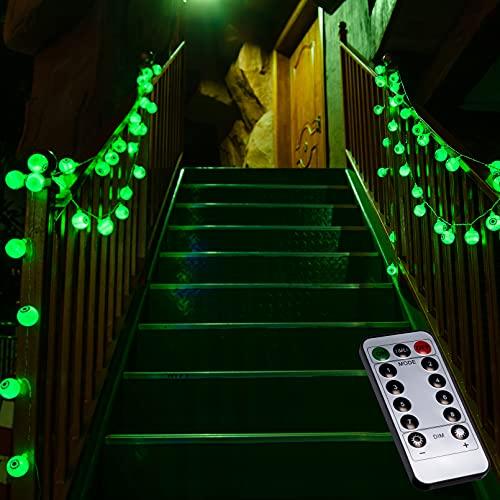 Ymenow - Guirnalda de luces LED (5 m, 30 ledes, impermeable, con mando a distancia, para decoración de Halloween, fiesta, jardín, color verde