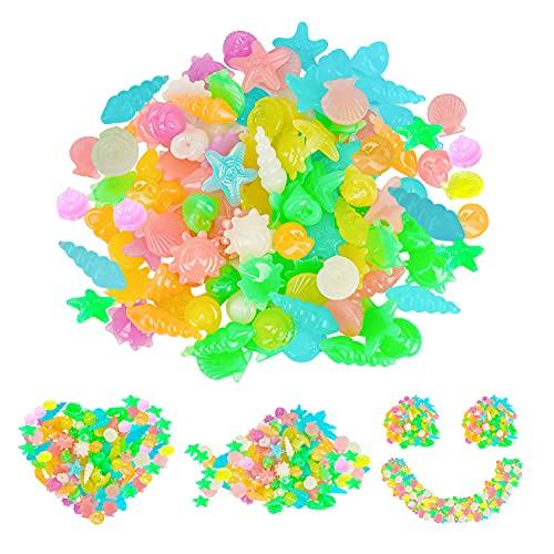 Piedras Luminosas 200 Pcs,Piedras Luminosas Jardin,Piedras Acuario Luminosas Colores,Piedras Jardin Exterior Luminosas,Piedras Decorativas,Piedras Luminosas Pecera,para Aceras,Acuario,Jardín(Vistoso)