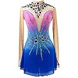 Vestido Patinaje sobre Hielo Azul NiñAs Mujeres Vestido Patinaje sobre Ruedas Hecho A Mano Competencia Patinaje ArtíStico Traje Profesional Cristales Leotardo Ropa Patinaje