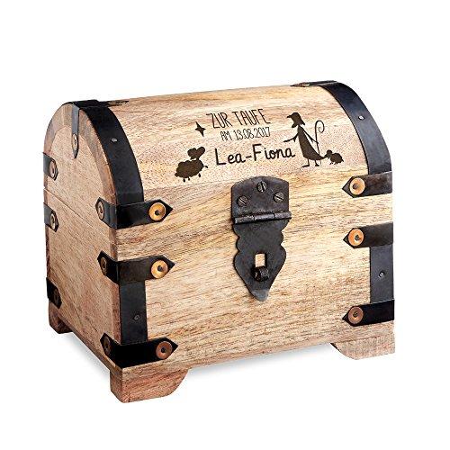 Casa Vivente Geldschatztruhe aus hellem Holz mit Gravur zur Taufe – Personalisiert mit Namen und Datum – Spardose als Taufgeschenk