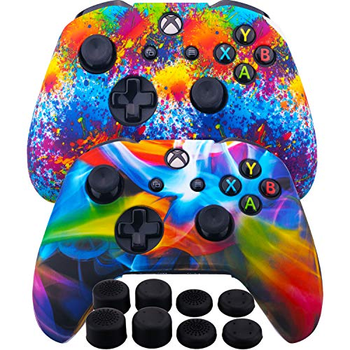 MXRC Silicone Rubber Cover Skin Case Anti-Slip Water Transfer Customize Camouflage for Xbox One/S/X Controller x 2(Rainbow Pack) + FPS PRO Extra Height Thumb Grips x 8