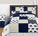 Sweet Jojo Designs Navy Blue, Gold, and White Big Bear Boy Full/Queen Bedding Comforter Set Kids Children 3 Pieces