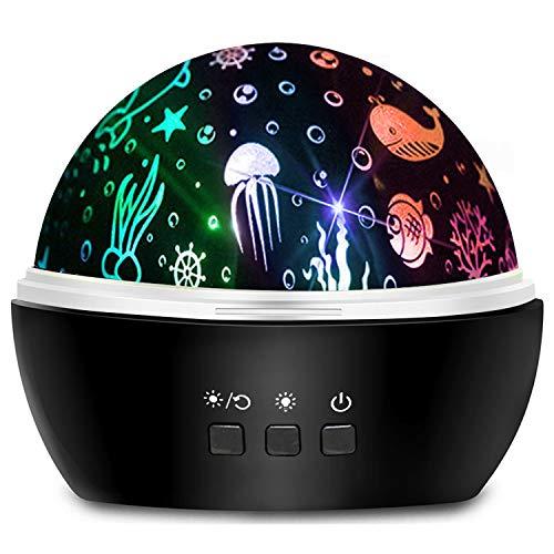 Moredig Led Projektor Sternenhimmel, 360° Drehbar Nachtlicht Baby Kinder Nachtlicht Sternenhimmel für Kinderzimmer Schlafzimmer Neugeborenes zum Geburtstag - Schwarz