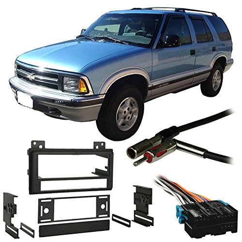 Compatible with Chevy S 10 Blazer 1995 1996 1997 Single DIN Stereo Harness Radio Install Dash Kit Package