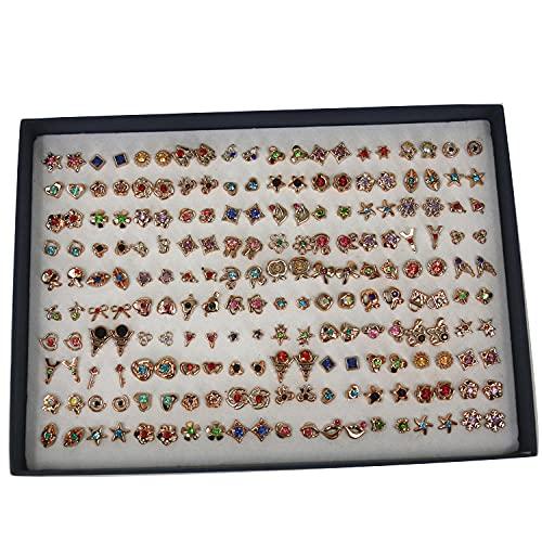 Aretes 100 pares de plástico pequeños orueños tuercas hembra temperamento pendientes en caja pendientes-veintitrés