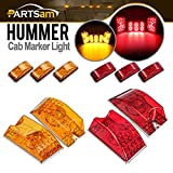 Partsam Cab Marker Roof Running Top Light Assembly (5pcs Forward Facing Amber 264160AM + 5pcs Rear Facing Red 264160R) with 65-5050-SMD LED Compatible with Hummer H2 SUV SUT 2003-2009 Waterproof