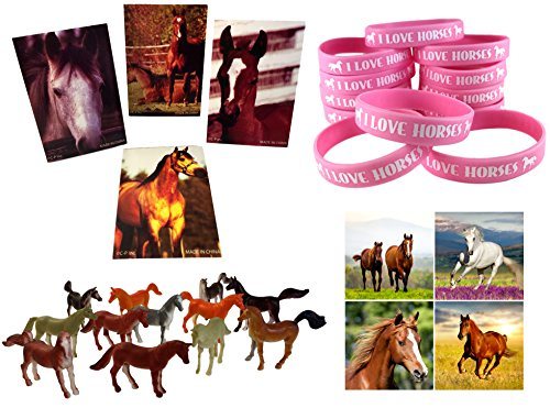 Cowgirl Horse Birthday Party Favor Supplies 60 Piece Bundle (12 Pink Horse Wristbands, 12 Horse Mini Note Pads, 12 Mini Plastic Toy Horses, 24 Horse & Pony Stickers)