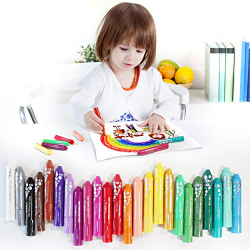 Tempera Paint Sticks, Sama 24 Pack Solid Tempera Paint Set, 18 Solid Colors with 6 Glitters for Kids, Washable, Non-Toxic & No Mess Paint Sticks