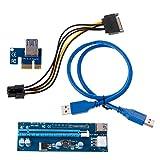BGH Tarjeta Vertical de ER-NMBGH PCI-E 1X a 16X con SATA 6 Clavijas de alimentación 60cm Cable Adaptador USB3.0