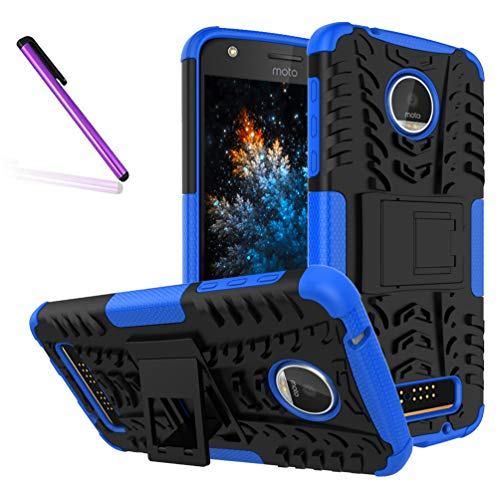 COTDINFORCA Case for Moto Z Play Droid Tyre Pattern Design Heavy Duty Tough Protection Case with Kickstand Shock Absorbing Detachable 2 in 1 Cover for Motorola Moto Z Play (2016). Hyun Blue