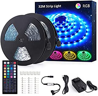 Novostella 105ft RGB LED Strip Light kit, Color Changing Flexible Dimmable 5050 LEDs, 24V LED Tape with 44 Key RF Remote, LED Ribbon for Home Ceiling Lighting Kitchen Bar, ETL Listed Power Supply