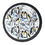 Tiradores para muebles niños Diamante Pingüino Acuarela Perilla del cajón cristal Perillas del gabinete Creativo Manija del cajón 4 piezas Para Habitación Infantil 3.5×2.8CM