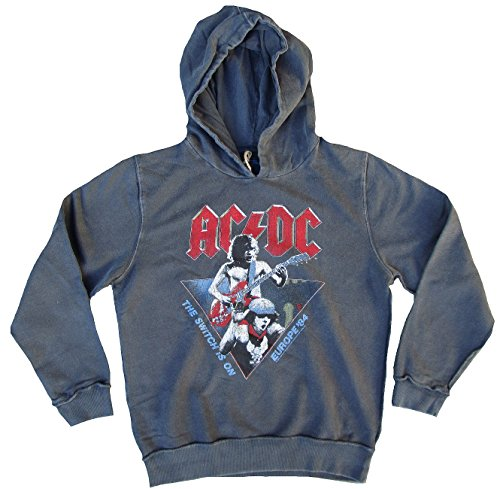 Amplified – Sudadera para hombre con capucha Sweater gris Official AC/DC ACDC The Switch IS ON Europe 84 Tour Vintage