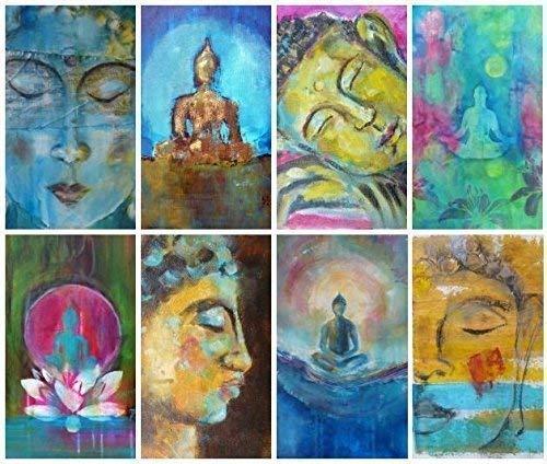 40 Buddhakarten mit 40 verschiedenen Weisheiten (in Englisch) auf der Rückseite, festlich im Organzasäckchen verpackt.