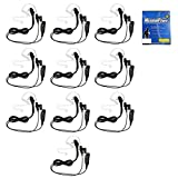 MaximalPower Clear Coil Tube Earbud Headset PTT Mic (10 Pack) w/Kevlar HYTERA 2-Pin Plug with Screw