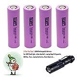 4 -Pack 18650 3.7V Wiederaufladbare Akku Li-ion Flat Top Batterie + LED-Taschenlampe Kit …