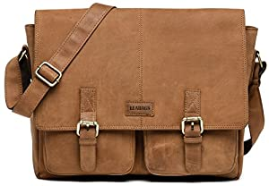 LEABAGS Cambridge genuine buffalo leather messenger bag in vintage style