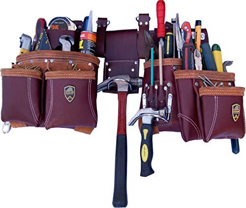 Zakco PRO-21 Genuine Full Grain Leather Heavy Duty Multi Pockets Construction Rig, Carpenters Tool Belt, 2 Leather Pouches Belt Framer's, Handyman, Roofer's,Tool Belt & Tool Organizer, Best Tool Apron