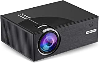PRAVETTE Mini LED Projector, 480p 120 Inch Display Supported, Ultra Quiet Long Lasting 50,000 Hour Operating Life, Multiple Mounting Points, Compatible with HDMI, VGA, USB, SD card for Gaming, Movies