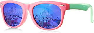 Kids Polarized Sunglasses TPEE Rubber Flexible Frame for Age 3-10(Pink/Blue Mirror)
