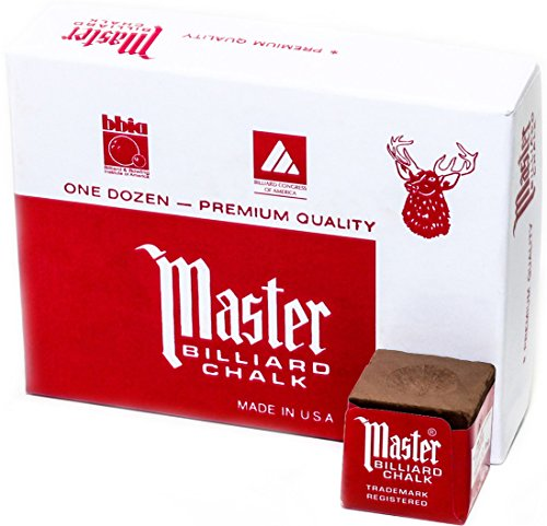 Best Deals! Master Billiard/Pool Cue Chalk Box, 12 Cubes, Brown