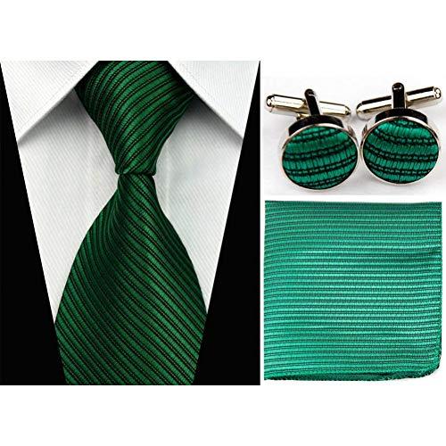 WOXHY Cravate en Soie Solide Motif rayé Business Ensembles Mouchoir Mouchoir Boutons de Manchette Accessoires Cravates pour Hommes Rouge Noir Cravate Gravatas