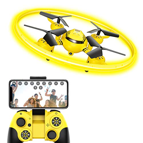 HASAKEE Q8 FPV Drone with Camera for Kids Adults,RC Drones for Kids,Quadcopter with Yellow Light,Altitude Hold,Gravity Sensor and Remote Control,Kids Gifts Toys for Boys and Girls