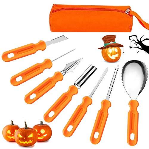 7Pcs Kit de Talla de Calabaza de Halloween ,Herramientas de Tallado de Calabaza ,Calabaza DIY decoración de Halloween,DIY Calabaza Decoración,Decoración de Halloween