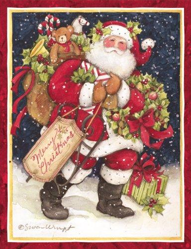 LANG - 'Snowy Night Santa', Boxed Christmas Cards, Artwork by Susan Winget' - 18 Cards, 19 envelopes - 5.375' x 6.875'