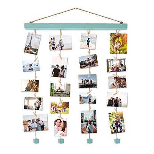 Vencipo Holz Bilderrahmen Collagen für Wand Deko Wohnzimmer, Blau Hänge Fotorahmen Organizer mit 24 Mini Wäscheklammern, Natur, Dekoration für Kinderzimmer, Babyzimmer, Party.(40 * 60cm)