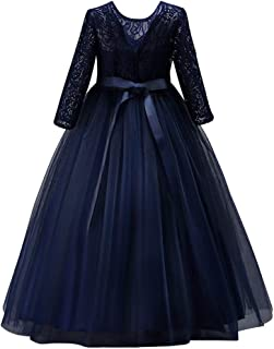 Girls 3/4 Sleeve Tulle Lace Flower Wedding Bridesmaid Dress Floor Length A Line Formal Pageant Long Prom Evening Gown