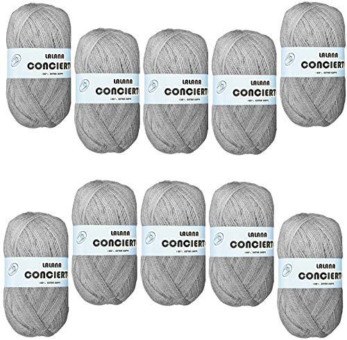 Hilo de Lana acrilico para Tejer Crochet Ganchillo o Punto para BEBE Torrijo CONCIERTO 50g, (10 Unidades *50g), |Color 1586-GRIS PERLA