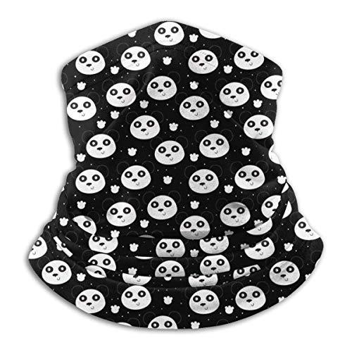 Neck Warmer Painting Pandas Windproof Balaclava for Men Women Black
