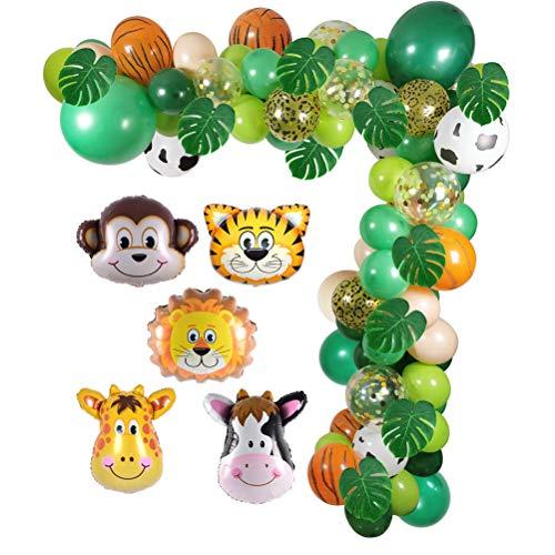 Jungle Safari Fête D'anniversaire Ballons Décorations Guirlande, Roi Lion Tigre Singe Vache Cerf Mylar Ballons Feuilles De Palmier Tropical Dinosaure Jungle Green Party pour Fournitures De Douche De