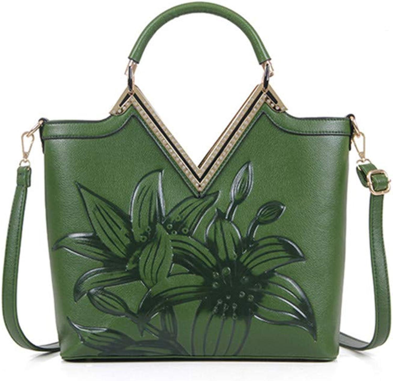 Osmond Green Red Luxury Leather Handbags Women Vintage Embossed Shoulder Bags Ladies Totes Large Crossbody Bag Bolsos Feminine Green