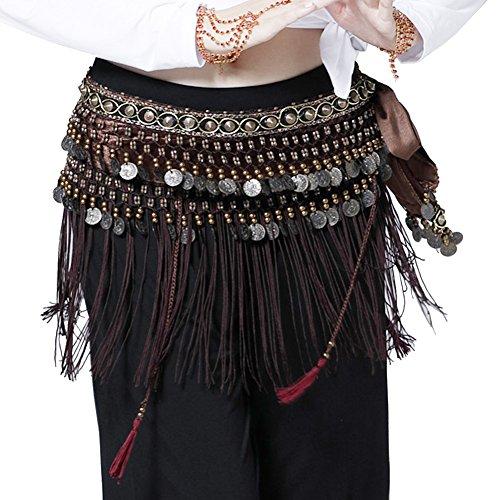 Wuchieal Bauchtanz Hüfttuch Bauchtänzerin Tribe Style Gürtel Quaste Hüfttuch Samt Taille Kostüm (Braun, One Size)