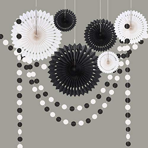 Cheerland Black and White Decoration Kit for Halloween Party Circle Dots Garland Hanging Décor/Streamer/Banner Backdrop Party Supplies for Kids Room Showcase Halloween Decor