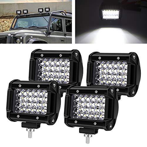 """Biqing 4PCS Phare de Travail LED 72W,4"""" Projecteur LED Lampe de Travail Barre 6000LM 12V 24V Feux Additionnels Offroad Lampe Avant Feux Brouillard pour Tracteur SUV ATV Camion"""