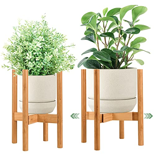 Goodjob Bamboo Plant Stands for Indoor Plants,Adjustable Indoor Plant Stand for Pot 8 9 10 11 12 in,Multi-Purpose Plant Holder for Living Room Corner Balcony and Bedroom(1 Pack,Only Plant Stand)