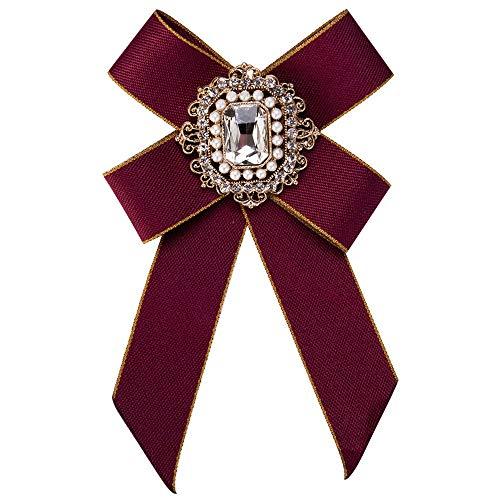 auvwxyz. Broschen Retro-Bogen-Boutonniere der europäischen und amerikanischen mehrlagigen Strickfliege der Frauen Diamant, rot